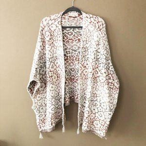 Knox Rose Neutral Boho Floral Poncho Cardigan